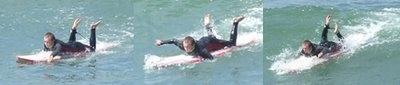 Ben paddles for a wave at Summerleaze 5/8/07